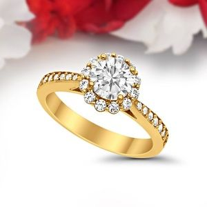 14k Yellow Gold 1.30ct Round engagement Ring